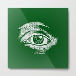 1961 Vintage Eye Drawing Green Metal Print