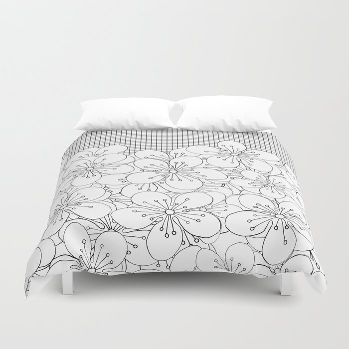 Cherry Blossom Grid - In Memory of Mackenzie Duvet Cover
