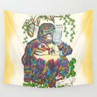 sia Wall Tapestries featuring Vibrant Jungle Gorilla and Pet Cat by famenxt