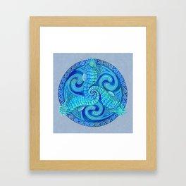 Seahorse Triskele Celtic Blue Spirals Mandala Framed Art Print