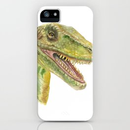 Velociraptor Watercolor Painting iPhone Case