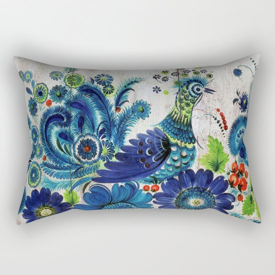 Russian Folk Art on Wood 03 Rectangular Pillow