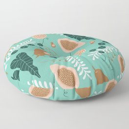 Pears, Guava and Leaves Floor Pillow