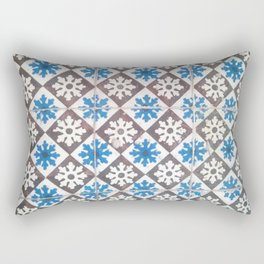 Porto Blue & Brown Tiles Rectangular Pillow