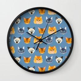 Cats Blue Wall Clock