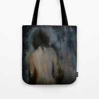 imagerybydianna Tote Bags featuring walking through mirrors by Imagery by dianna