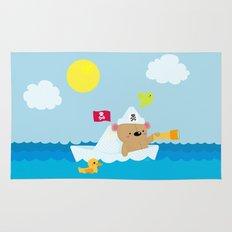 Bear in paper boat Rug
