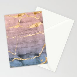 Watercolor Gradient Gold Foil Stationery Cards