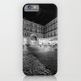 Night Time at the Plaza Mayor of Madrid BW iPhone Case