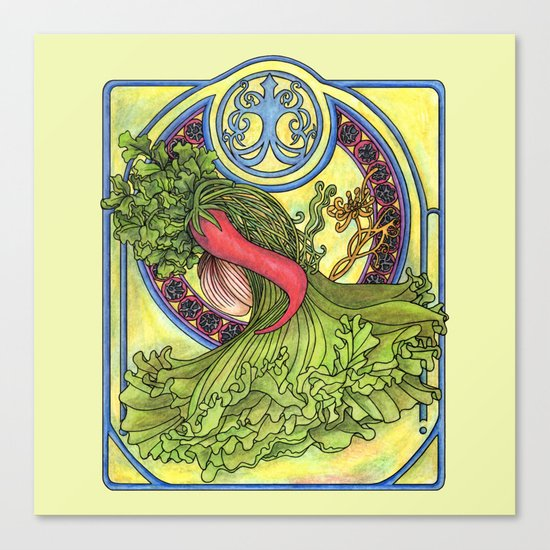 Art nouveau. Spices and vegetables Canvas Print