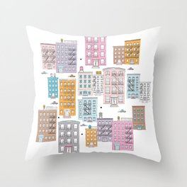 New York Brownstone Architecture - Pastel homes Throw Pillow