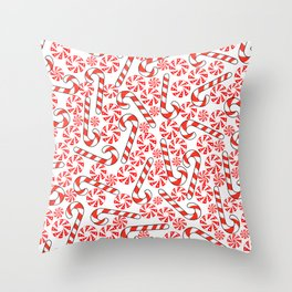 Cute Candy Holiday Pattern Throw Pillow