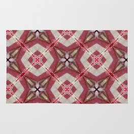 Holiday Red, Cream and Gold Burlap Plaid Pattern Rug