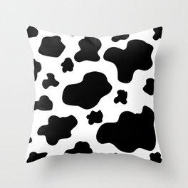 Cow Print Pattern / White / Black Throw Pillow
