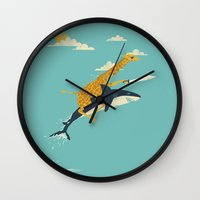 jazzberry blue Wall Clocks featuring Onward! by Jay Fleck
