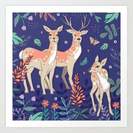 Deer, Deer, Deer! Art Print