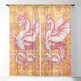 Noble House GINGER FIRE / Grungy heraldry design Sheer Curtain