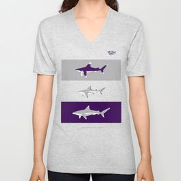 The whitetip, the blacktip and the silvertip - oceanic shark identification Unisex V-Neck