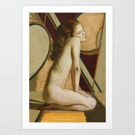 Female Nude Figure Art Nouveau Painting Modern Geometric Minimalist Red Yellow Gray Art Print