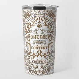 D20 RPG Home Brew Distressed Whiskey Label Travel Mug