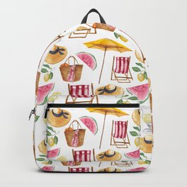 Summer pink yellow watercolor watermelon lemon nautical pattern Backpack