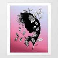 nymph among roses - ink drawing Art Print