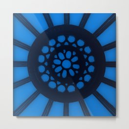 Spin the Wheel Blue Metal Print