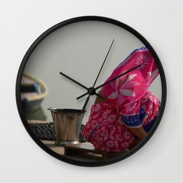 Woman in Pink Sari by Ganges Wall Clock