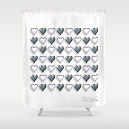 Heart WAVE Black /White Shower Curtain