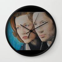 scully Wall Clocks featuring X Files. Mulder and Scully by Jenn