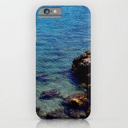 Transparent mediterranean ocean with cliffs iPhone Case
