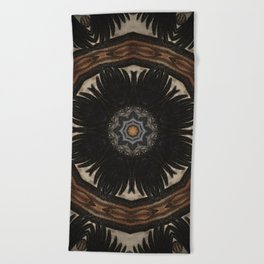 """Crow Wing Shield Mandala (created from the painting """"Between the World"""") Beach Towel"""