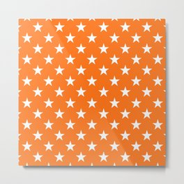 Stars Texture (White & Orange) Metal Print