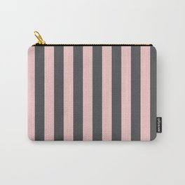 Millennial Pink Blush Coco Brown Neapolitan Stripes Pattern Carry-All Pouch