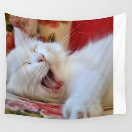 Cute Portrait Of A Yawning Van Cat Wall Tapestry