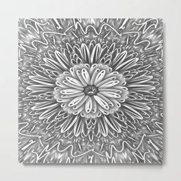 Flower Kaleidoscope Grays Metal Print