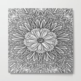 Flower Kaleidoscope Grays Metal Print