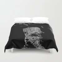 san francisco map Duvet Covers featuring san francisco map by Line Line Lines