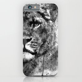 Black And White Half Faced Lioness iPhone Case
