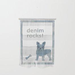 Denim Rocks French Bulldog Wall Hanging