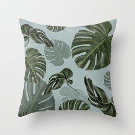 Monstera Urban Jungle pattern Throw Pillow