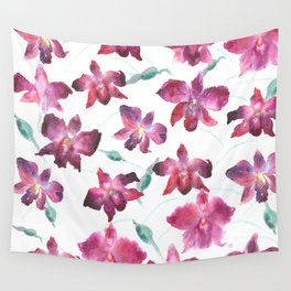 Hand drawn pattern Beautiful watercolor pink Orchid Wall Tapestry