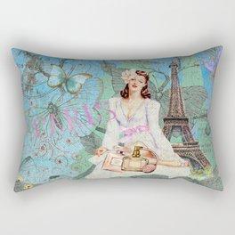 Paris - mon amour - Fashion Girl In France Eiffel tower Nostalgy - French Vintage Rectangular Pillow