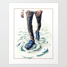Walking on Water with Double Monk Strap Shoes Art Print