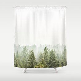 arial forest print, tree top print, wall art, woodland print, forest print, arial fog tree phoo Shower Curtain