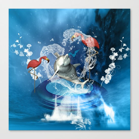 Dolphin jumping by a heart Canvas Print