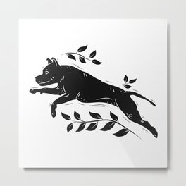 Jumping Dog With Leaves –black palette Metal Print