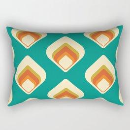 Mid-Century Modern Teal and Cream Tear Drop Rectangular Pillow