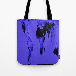 World Map: Gall Peters Indigo Purple Tote Bag
