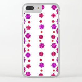 Vertical Stripes Floral Pattern Collage Clear iPhone Case